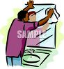 African American Man Cleaning the Bathroom Mirror clipart