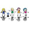 Stick Kids Playing Together clipart