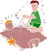 One Boy Burying Another in the Sand clipart