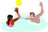 Teenagers Playing Ball in a Pool clipart