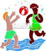 Mixed Race Kids Playing Ball at the Beach clipart