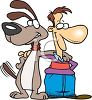Man and His Dog Cartoon clipart