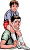 Dad Holding His Son on His Shoulders clipart