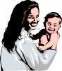 Mother Holding Her Baby Son clipart