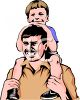 Little Boy on His Dad's Shoulders clipart