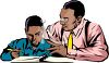 African American Dad Helping His Son with Homework clipart