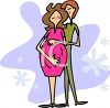 Man Hugging His Pregnant Wife Cartoon clipart