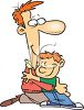Cartoon of a Dad Hugging His Son clipart