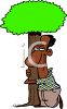 African American Man Hugging a Tree clipart