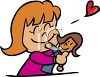 Little Girl Hugging Her Doll clipart