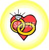 A Heart With Wedding Rings clipart
