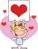 A Female Stick Angel Holding A Sign Surrounded By Hearts clipart
