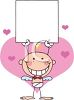 A Baby Stick Angel Holding A Sign Surrounded By Hearts clipart
