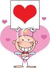 A Baby Stick Angel Holding A Sign With A Heart clipart