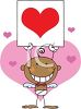 A Stick Cupid Holding A Sign Surrounded By Hearts clipart