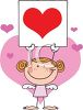 A Redheaded Stick Angel Holding A Heart Sign  clipart