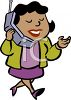 Black business woman talking on cell phone clipart