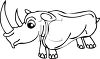 Black and White Cartoon Rhino clipart