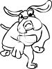 Black and White Cartoon of a Running Bulldog clipart