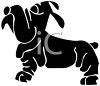 Shar Pei Cartoon Dog in Silhouette clipart