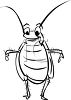 Black and White Cartoon Cockroach clipart
