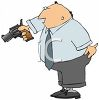 Cartoon of a Businessman With a Revolver in His Hand clipart