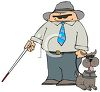 Cartoon of a Blind Man with a Blind Dog clipart