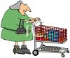 Old Woman Grocery Shopping clipart