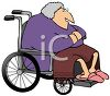 Fat Old Lady Sitting in a Wheelchair clipart