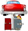 Cartoon of a Fat Female Mechanic Working on a Car clipart