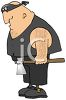 Cartoon of an Executioner Holding a Hatchet clipart