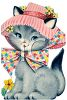 Kitten Wearing a Bonnet clipart