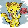 Cartoon Kitten Holding a Rose clipart