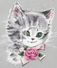 Green Eyed Kitten With a Rose clipart