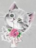 Kitten with a Rose and a Bow on It's Collar clipart