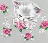 Kitten with Pink Roses Design clipart