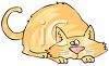 Cartoon of a Fat Cat Laying Down  clipart