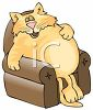 Cartoon of a Fat Cat Snoozing in a Recliner clipart