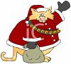 Cartoon of a Fat Cat Dressed Up Like Santa  clipart
