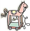 Cartoon of a Wooden Horse on Wheels clipart