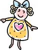 Doll With a Heart on Her Dress clipart