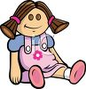 Cute Doll Wearing a Pink Dress clipart
