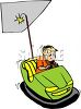 Boy in a Bumper Car at a Carnival clipart