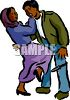 Ethnic Woman Using Self Defense on an Attacker clipart