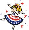 Little Girl Celebrating the Fourth of July Wearing a Patriotic Dress clipart