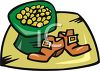 A Hat Full of Gold Coins and a Pair of Buckled Shoes clipart