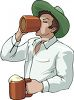 A Man Drinking Mugs Of Beer clipart