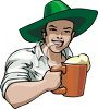A Man In A Leprechaun Hat With A Mug Of Beer clipart