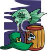 A Keg Of Beer With A Shamrock Flag And A Leprechaun Hat clipart