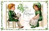 A Vintage Saint Patricks Day Card Showing Children In Victorian Clothing clipart